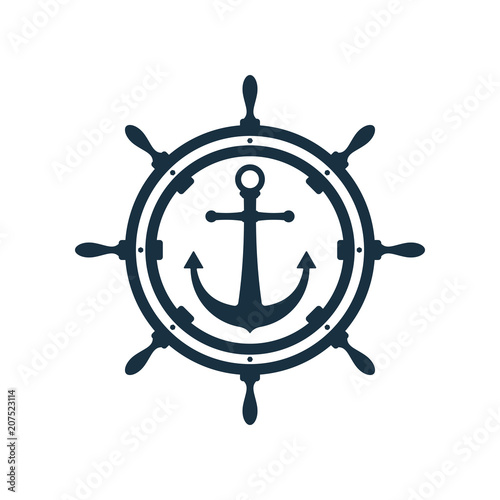 Ship wheel and anchor design Wallpaper Mural