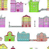 Budynki na starym mieście. Kolorowy. Bezszwowy wzór w doodle i kreskówka stylu. Wektor - 207523579