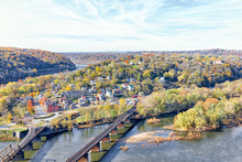 Harper's Ferry Overlook With Colorful Orange Yellow Foliage Fall Autumn Forest With Small Village Town By River In West Virginia, WV