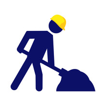 Under Construction Warning Sign. Vector Blue Stickman With Yellow Helmet Shoveling.