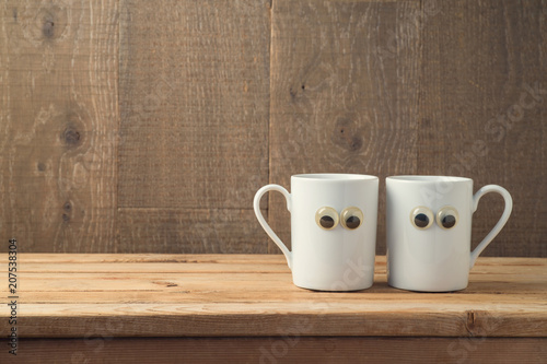 Fotografía  Best friends concept with two coffee cups