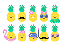 Pineapple Cute Characters Set