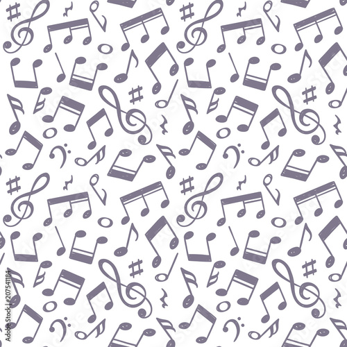 Hand Drawn Music Notes Vector Illustration Doodle Music Icons