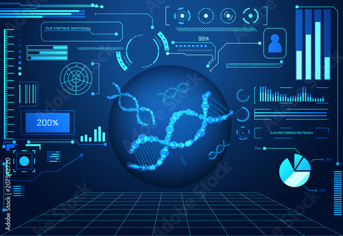 Abstract Technology Ui Futuristic Concept Circle Dark Digital DNA Health Care Of Hud Interface Hologram Elements