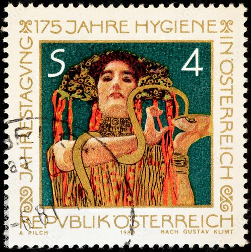Obrazy Gustav Klimt  painting-by-gustav-klimt-on-austrian-stamp