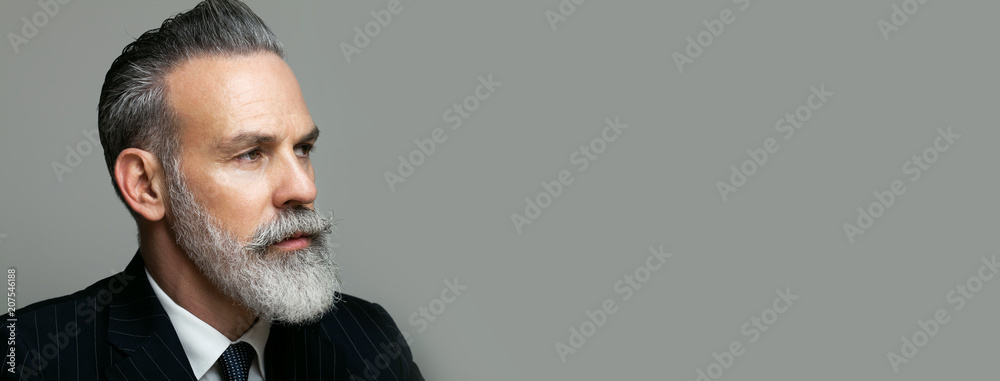 Fototapeta Close-up portrait of bearded gentleman wearing trendy suit over empty gray background. Copy Paste text space. Wide.