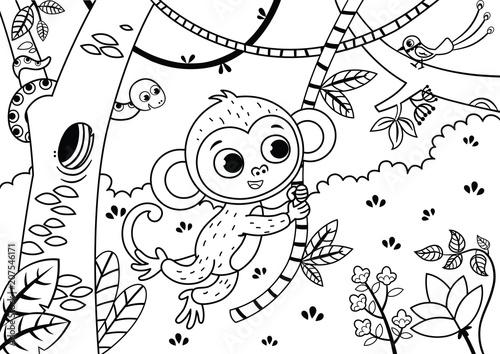 Naklejka premium Czarno-biały ilustracja cute małpy w dżungli. Ilustracji wektorowych.