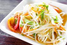 Papaya Salad Or Som Tum, Thai Food.