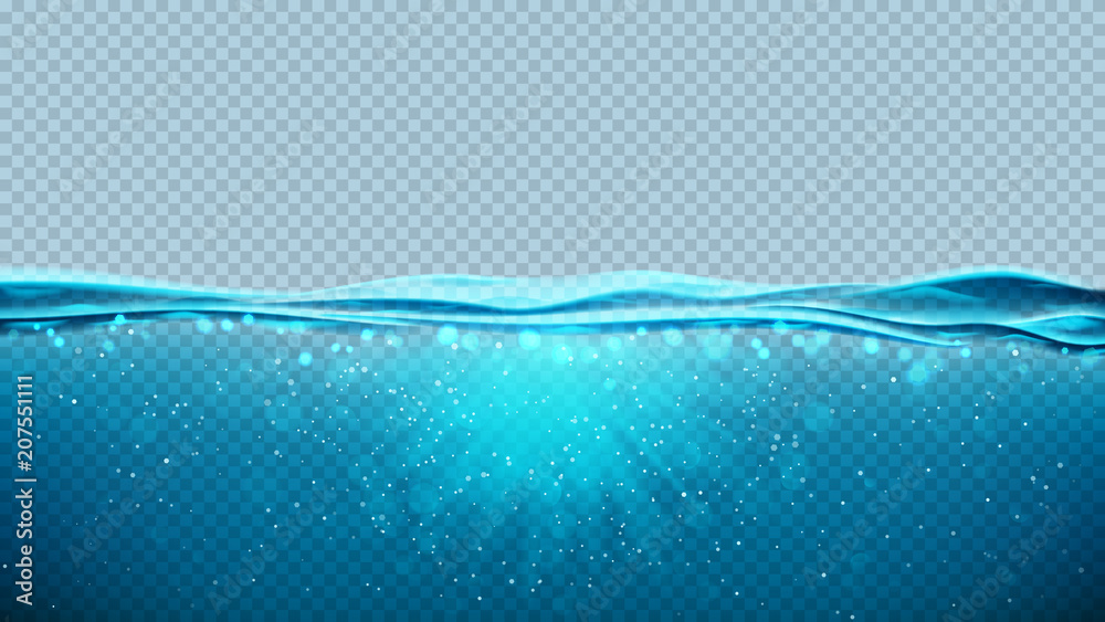 Fototapeta Transparent underwater blue ocean background. Vector illustration with deep underwater sea scene. Banner with with horizon water surface.