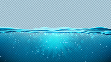 Transparent underwater blue ocean background. Vector illustration with deep underwater sea scene. Banner with with horizon water surface.