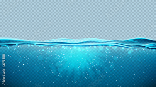 Obraz Transparent underwater blue ocean background. Vector illustration with deep underwater sea scene. Banner with with horizon water surface. - fototapety do salonu