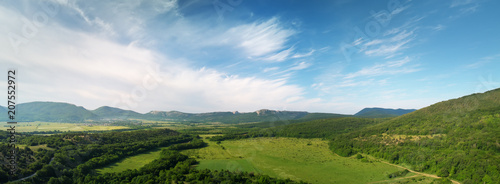 Tuinposter Blauwe jeans Aerial fields and meadow panorama