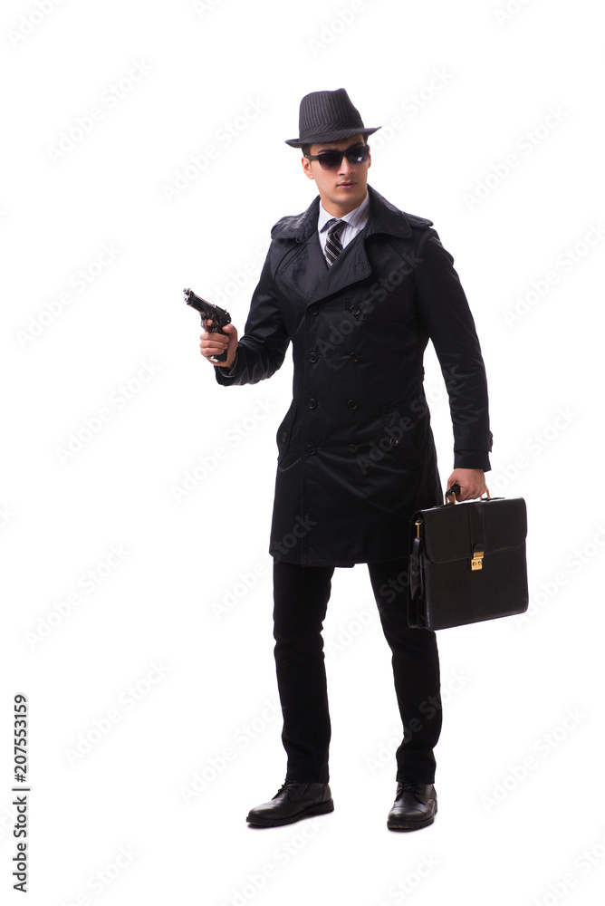Fototapeta Man spy with handgun isolated on white background