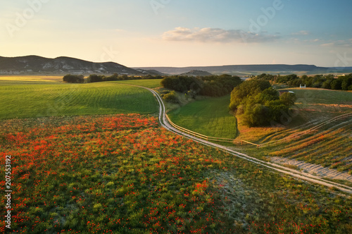 Foto-Lamellenvorhang - Aerial fields and meadow in mountain. (von GIS)