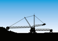 Silhouette Of A Bucket Wheel Excavator