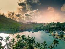 Aerial View Of Marigot Bay - St Lucia - Caribbean Sea