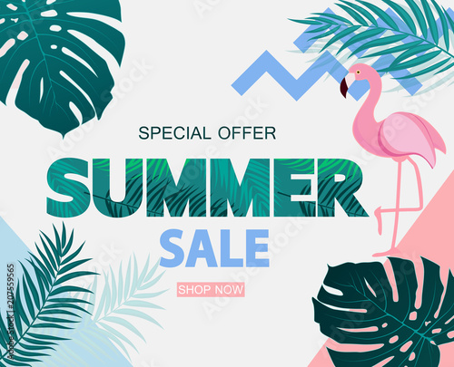 Abstract Tropical Summer Sale Background with Flamingo and Leaves. Vector Illustration Fototapete