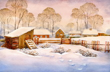 Watercolor Landscape Of Old Wi...