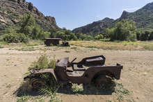 Vintage Ruined Military Vehicles On Display At Malibu Creek State Park Near Los Angeles, California.