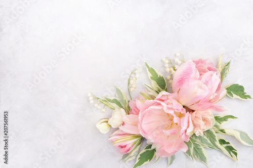 Delicate tulips on blooming spring flowers festive background, summer blossoming pastel and soft bouquet floral card, selective focus