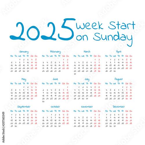 Poster  Simple 2025 year calendar