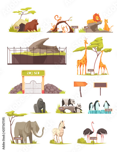 Fotografia Zoo Animals Cartoon Icons Collection