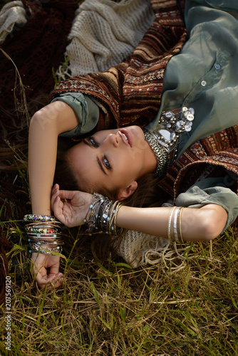 Poster Gypsy lying hippie girl