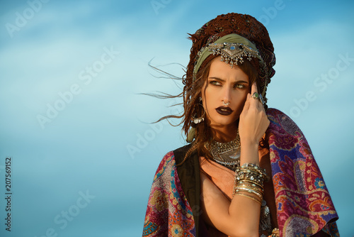 Poster Gypsy boho style clothes