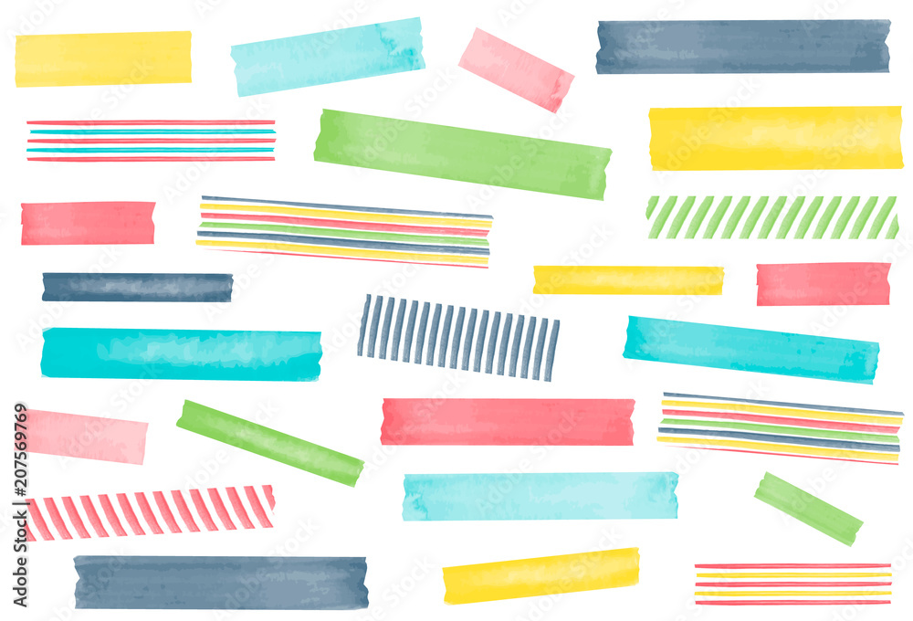 Fototapety, obrazy: Collection of watercolor washi tape strips. EPS file has global colors for easy color changes and semitransparent tape strips.