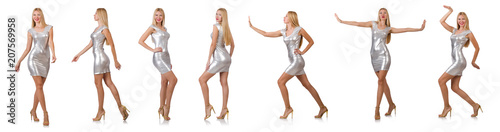 Obraz Young woman in silver dress isolated on white - fototapety do salonu