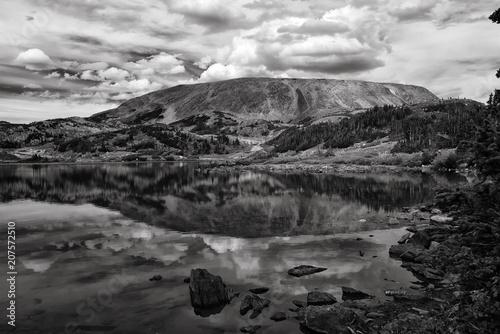 Fotobehang Grijs Browns Peak reflection; Wyoming