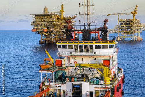 Bridge of an anchor handling tug boat steaming at oil field Canvas Print