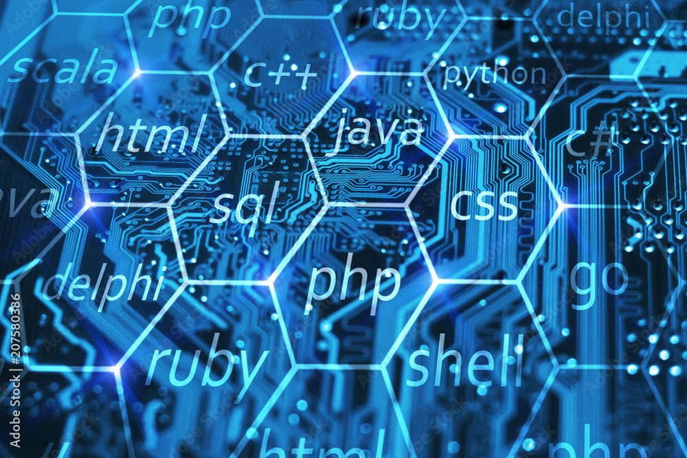 Fototapeta Programming language and development of applications concept on blue integrated circuit. Training courses of php, sql, html, css and other disciplines.