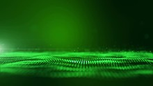 Seamless Loop, Loopable, Green Digital Abstract Background With Wave Particles, Glow Sparkles And Space With Depth Of Field. Particles Form Lines, Surface And Grid.