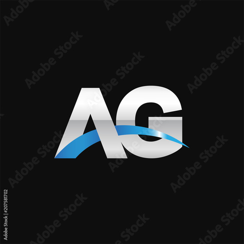 Photo Initial letter AG, overlapping movement swoosh logo, metal silver blue color on