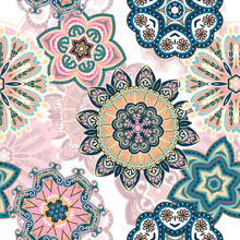 Seamless Mandala Pattern For Printing On Fabric Or Paper. Hand Drawn Background. Colorful, Pastel Print.
