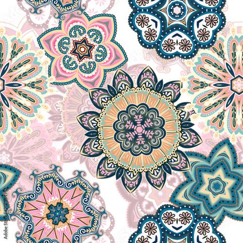 Valokuvatapetti Seamless mandala pattern for printing on fabric or paper