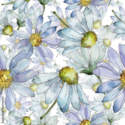 White Daisy Floral Botanical Flower Seamless Background Pattern
