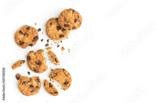 Biscuit homemade chocolate chips cookies on white background in top view