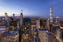Skyline Of Manhattan And Central Park During Blue Hour