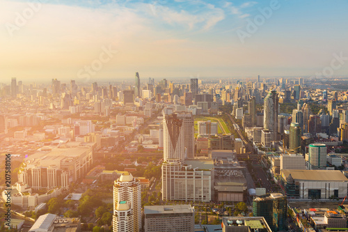 Photo  Aerial view Bangkok city business downtown Thailand, cityscape background