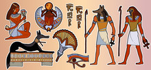 Egyptian Gods And Pharaohs Patch, Ancient Egypt Stickers Art. Fashion Patch. Pharaoh, Gods Of Egypt, Anubis, Ra. Stickers, Patches In Cartoon 80s-90s Comic Style