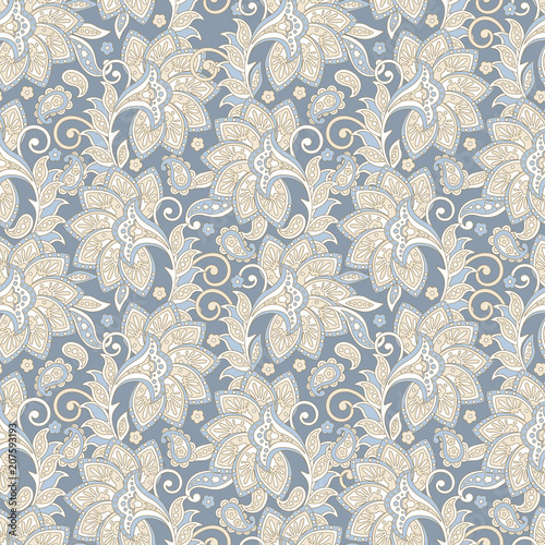 Cotton fabric elegance seamless pattern with ethnic flowers and leaf, vector floral illustration in vintage style