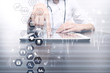 Medicine and healthcare concept. Medical doctor working with modern pc. Electronic health record. EHR, EMR.