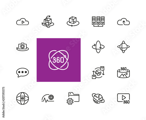 Interactive system icons  Set of line icons  Cloud service, virtual