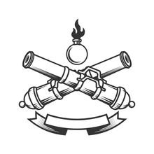 Emblem Template With Vintage Cannons. Design Element For Logo, Label, Sign.