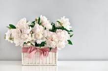 Peonies In A Rustic Basket, Front View