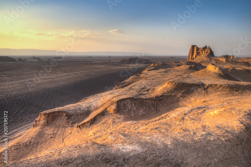 Fototapeta  Sunset at the Dasht-e Lut desert near Kerman, Iran.