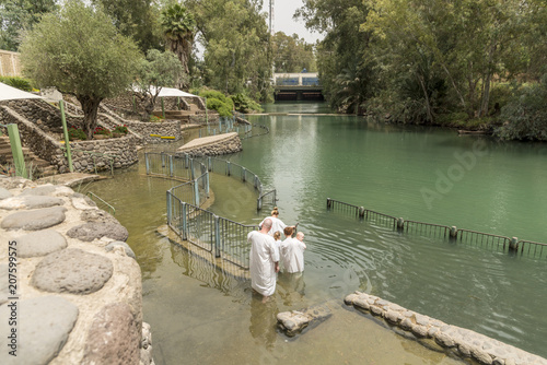 Yardenit, Israel- May 6, 2018 : Yardenit baptism site on a Jordan River in Israel Fototapete