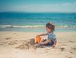 Toddler on beach building sand castle